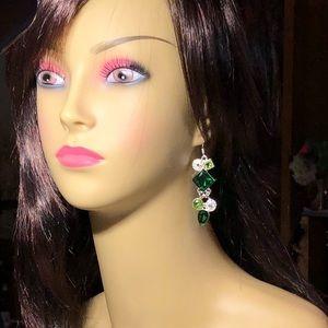Emerald & peridot gemstones dangle earrings